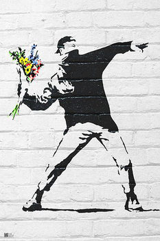 Banksy street art - Graffiti Throwing Flow плакат