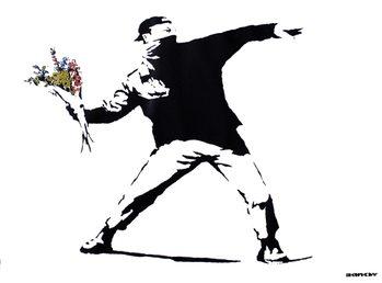 Banksy street art - graffiti throwing flowers плакат