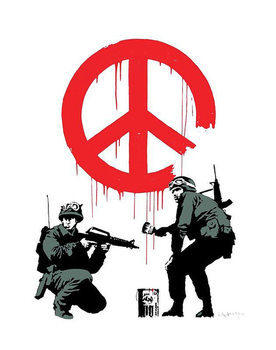 Banksy Street Art - Peace Soldiers - плакат