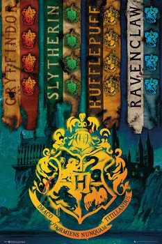 Harry Potter - House Flags плакат
