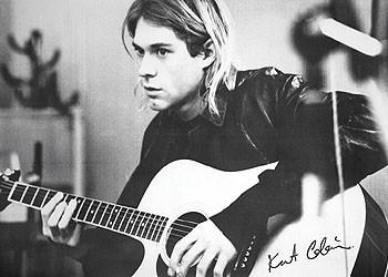 Kurt Cobain - guitar b&w PY плакат