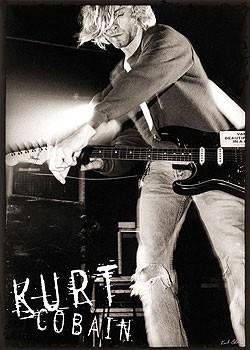 Kurt Cobain - live b&w плакат