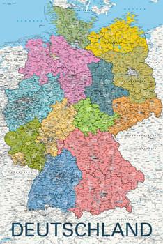 Map - deutschland political 2011 плакат