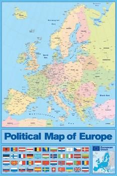Map of Europe - Political плакат