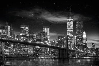 New York - Freedom Tower (B&W) плакат