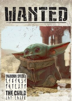 Star Wars: The Mandalorian - Baby Yoda Wanted плакат