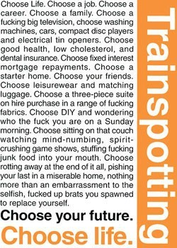 TRAINSPOTTING - choose life - плакат