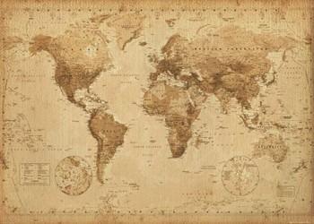 World Map - Antique Style - плакат