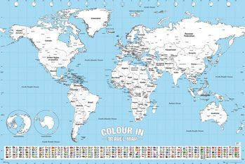 World Map - Colour In плакат
