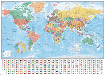 World Map - Flags and Facts - плакат