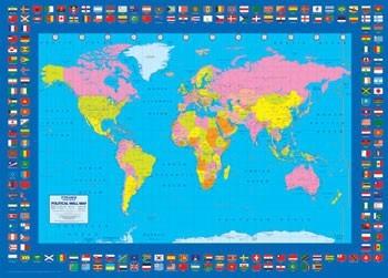 World Map - Political плакат
