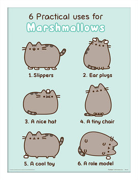 Pusheen - Practical Uses for Marshmallows Рамкиран плакат