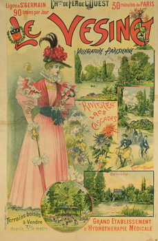 Poster for the Chemins de Fer de l'Ouest to Le Vesinet, c.1895-1900 Художествено Изкуство