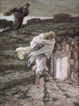 St. Peter and St. John Run to the Tomb, illustration for 'The Life of Christ', c.1886-94 Художествено Изкуство