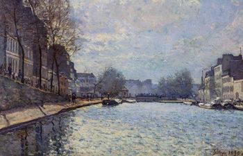 View of the Canal Saint-Martin, Paris, 1870 Художествено Изкуство