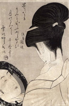 Young woman applying make-up, c.1795-96 (colour woodblock print) Художествено Изкуство