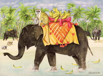 Elephants with Bananas, 1998 Художествено Изкуство