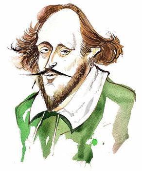 English playwright and poet William Shakespeare; caricature Художествено Изкуство