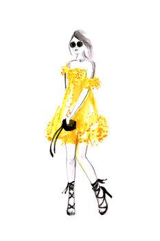 илюстрация Fashion illustration yellow summer dress