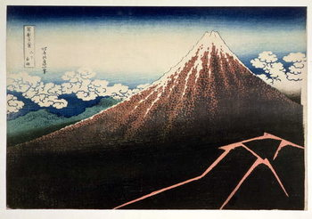 Fuji above the Lightning', from the series '36 Views of Mt. Fuji' ('Fugaku sanjurokkei'), pub. by Nishimura Eijudo, 1831, Художествено Изкуство