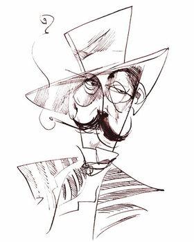 Giacomo Puccini, Italian opera composer , sepia line caricature, 2006 by Neale Osborne Художествено Изкуство