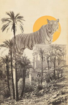 Giant Tiger in Ruins and Palms Художествено Изкуство