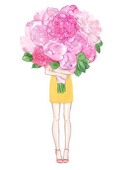 илюстрация Girl and Peonies