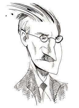 James Joyce - caricature of Irish writer Художествено Изкуство