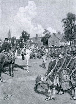 Reading the Declaration before Washington's Army, New York, July 9th, 1776, illustration from 'How the Declaration was Received in the Old Thirteen' by Charles D. Deshler, pub. in Harper's Magazine, 1892 Художествено Изкуство