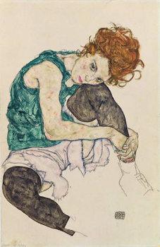 Seated Woman with Bent Knee, 1917 Художествено Изкуство