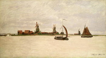 The Outer Harbour at Zaandam, 1871 Художествено Изкуство