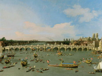 Westminster Bridge, London, With the Lord Mayor's Procession on the Thames Художествено Изкуство