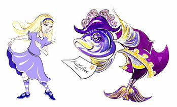 Alice and the Fish Footman - illustration to  Lewis Carroll 's 'Alice's Adventures in Wonderland' , 2005 Художествено Изкуство