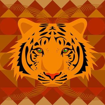Aztec Tiger Художествено Изкуство