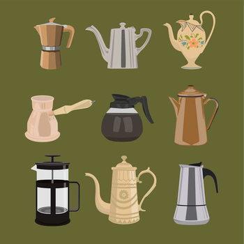 Coffee Pots Художествено Изкуство