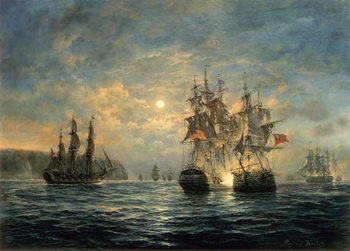 Engagement Between the Bonhomme Richard and the Serapis off Flamborough Head, 1779 Художествено Изкуство