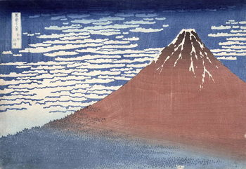 Fine weather with South wind, from 'Fugaku sanjurokkei' (Thirty-Six Views of Mount Fuji) c.1831 Художествено Изкуство