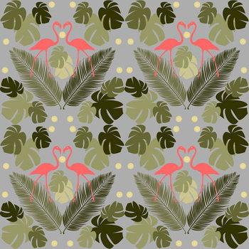 Flamingo and Palms Художествено Изкуство