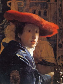 Girl with a Red Hat, c.1665 Художествено Изкуство