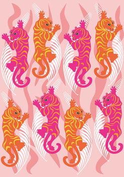 Hot Pink Tiger Художествено Изкуство