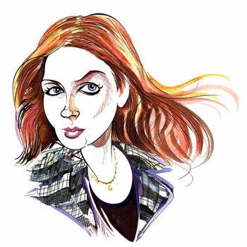 Karen Gillan as Amy Pond, Doctor Who's assistant in BBC television series of the same name Художествено Изкуство