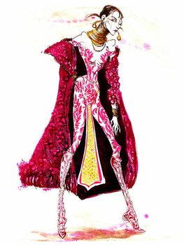 Model wearing a catsuit and fur coat Художествено Изкуство