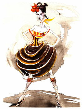 Model wearing a voluminous skirt Художествено Изкуство