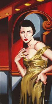 Olive Satin Dress Художествено Изкуство