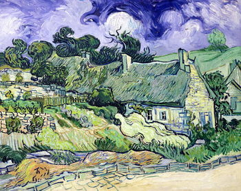 Thatched cottages at Cordeville, Auvers-sur-Oise, 1890 Художествено Изкуство