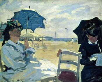 The Beach at Trouville, 1870 Художествено Изкуство