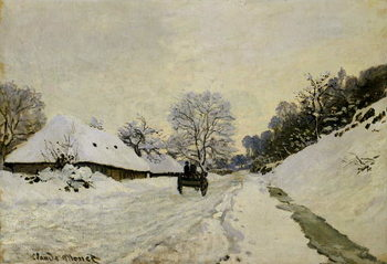 The Cart, or Road under Snow at Honfleur, 1865 Художествено Изкуство