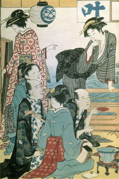 Women of the Gay Quarters, left hand panel of a diptych (colour woodblock print) Художествено Изкуство