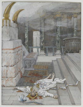 Zacharias Killed Between the Temple and the Altar, illustration from 'The Life of Our Lord Jesus Christ', 1886-96 Художествено Изкуство