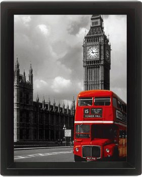 LONDON - red bus 3D plakat indrammet